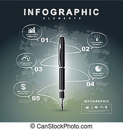 creative flow chart with fountain pen writing informations...
