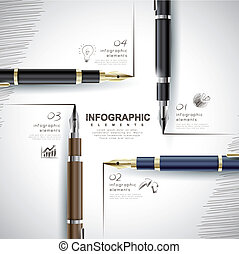 creative template with fountain pen writing informations,...