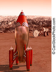 Retro rocket on Mars - Stylized illustration of a retro...