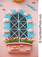 windows with colorful of artistic design and colorful...
