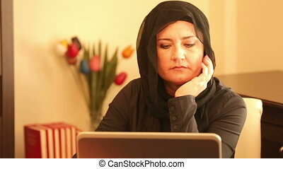 Muslim woman receiving bad news