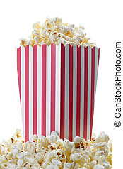 Popcorn - Striped box of fresh popcorn isolated on white...