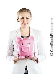 donna,  piggy, banca, presa a terra