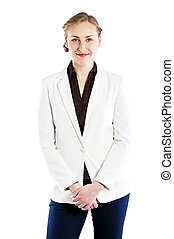 Smiling business woman, isolated on white background.