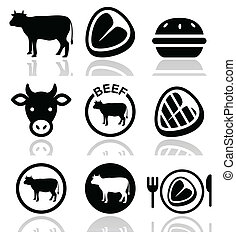 Beef meat, cow vector icon set - Food icons set - beef, BBQ,...