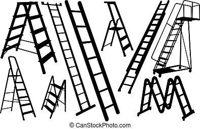 ladders - set of different ladders isolated
