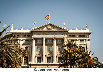 Government Building Barcelona - Spanish flag over a...
