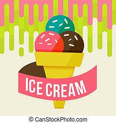 ice cream background - Retro ice cream poster. illustration...