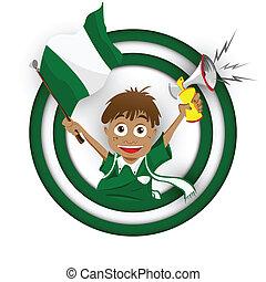 Nigeria Soccer Fan Flag Cartoon