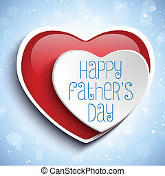 Happy Fathers Day Red Heart Background