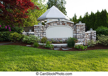 Pavilion with Stone Front Fence - Horizontal evening front...