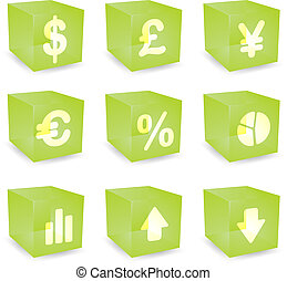 Finance cube icons - Finance symbols icon set over...