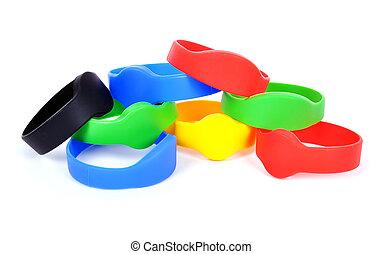 color rfid bracelet - many color rfid bracelet on a white...