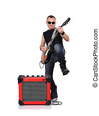 rocker with electrical guitar on a white background