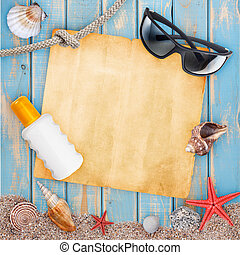 Holiday beach concept with shells, sunglasses and sunburn...