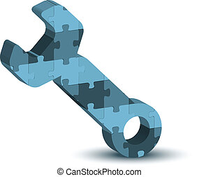 Wrench, spanner, maintenance support tool icon in puzzle -...