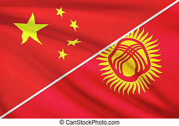Series of ruffled flags. China and Kyrgyz Republic. - Flags...