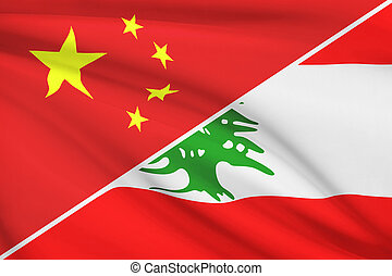 despenteado, Líbano, série, república,  China, Bandeiras