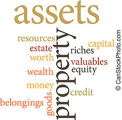 assets - illustration of the word assets in word clouds...