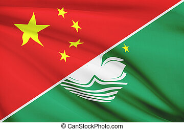 Series of ruffled flags. China and Macao Special...