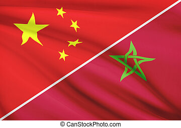 Series of ruffled flags. China and Kingdom of Morocco.