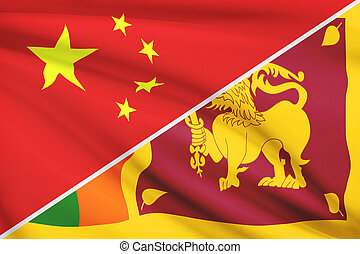 Series of ruffled flags. China and Democratic Socialist...