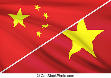 Series of ruffled flags. China and Socialist Republic of...