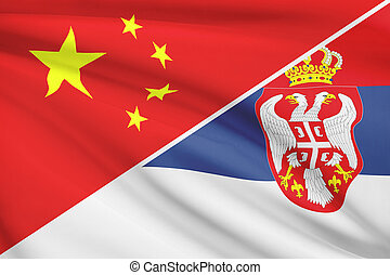 Series of ruffled flags China and Republic of Serbia - Flags...