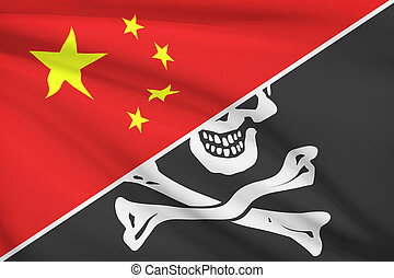 Series of ruffled flags China and Jolly Roger pirate flag -...