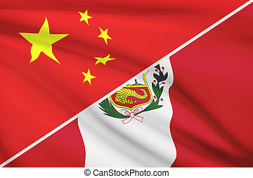 Series of ruffled flags. China and Republic of Peru. - Flags...