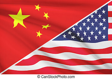 Series of ruffled flags. China and United States of America....
