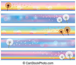 Set of horizontal floral banners with flower dandelion...
