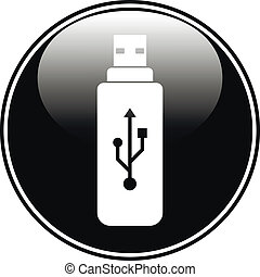 Usb flash button on white background.