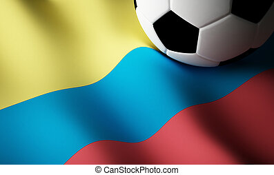 Colombian flag, football - Colombian flag with soccer ball....