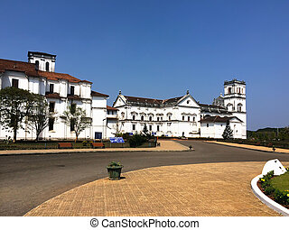 Square and churches in Old Goa, India