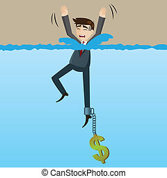 cartoon drowning businessman with money chain on his leg