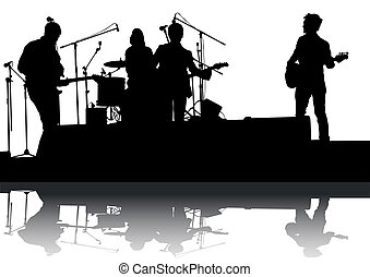 Rock group - Concert of rock band on a white background