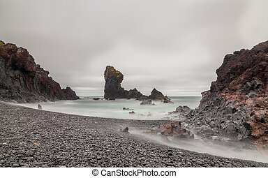 Icelandic Beach - Long exposure of Iceland Beach with stones...