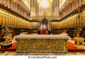 Interior of Seville Cathedral - Wide angle view of Seville...