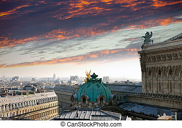Paris. The top view on a sunset over the opera