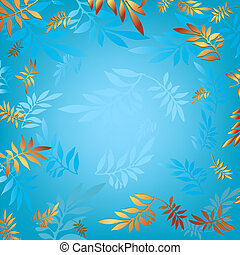 Blue background with leaves