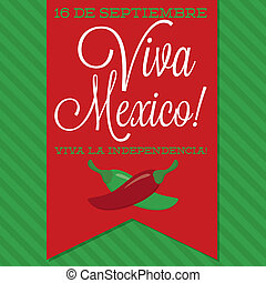 Retro style Viva Mexico Mexican Independence Day card in...