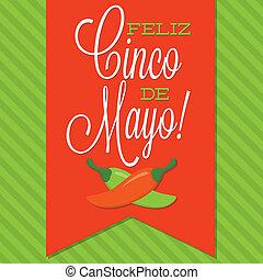 Retro style Cinco de Mayo (Happy 5th of May) card in vector format.