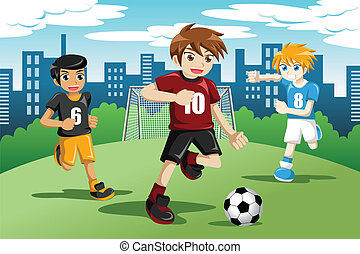 Kids playing soccer - A vector illustration of happy kids...
