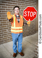 Crossing Guard at School - Handsome school crossing guard...