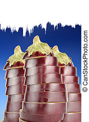 Sliced Aubergines on Sky Blue Background with Copy Space