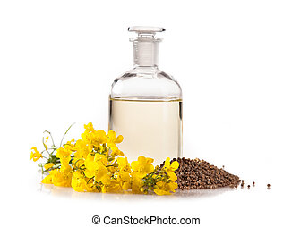 Rape oil on white background - Isolated rape oil with...