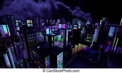 3D Computer generated city at night In the windows of the...