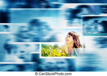 Pictures display in motion making a multimedia broadcast All...