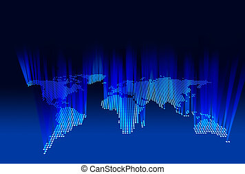world map of beaming lights as seen from space, 3d - 3d view...